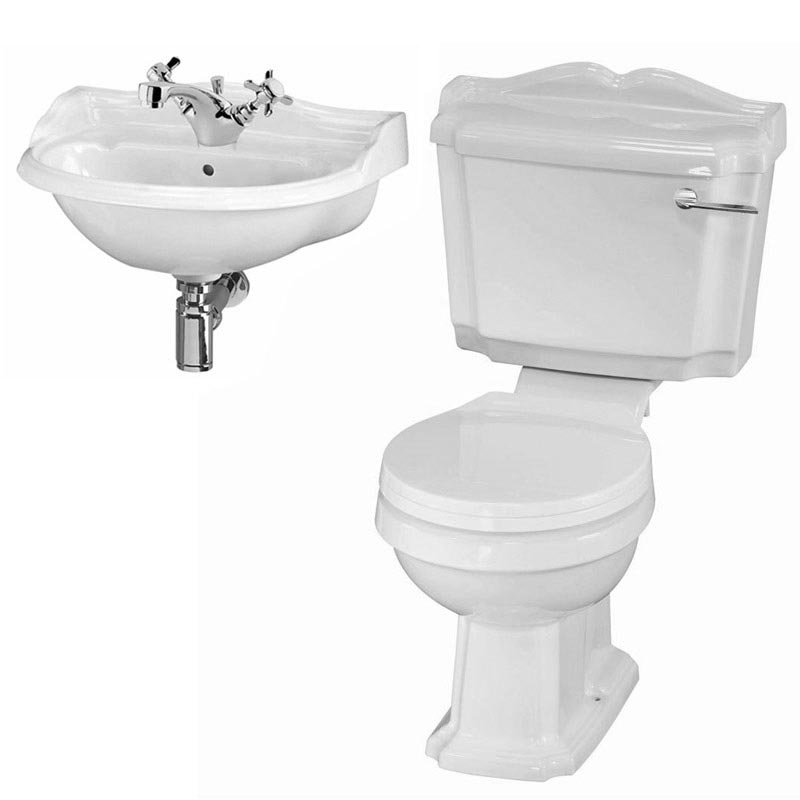 Oxford Cloakroom Suite with Basin Mixer, Waste + Chrome Bottle Trap Standard Large Image