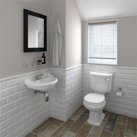 Oxford Cloakroom Suite with Basin Mixer, Waste + Chrome Bottle Trap