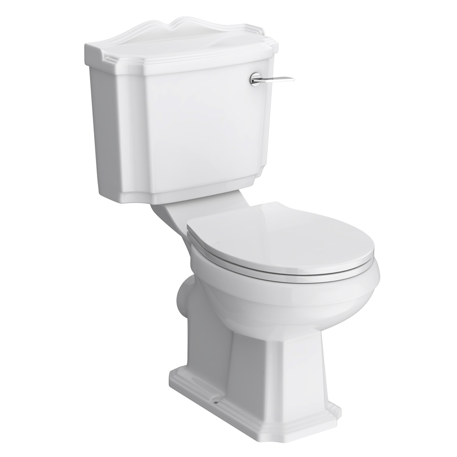 Oxford Close Coupled Traditional Toilet WC with Toilet Seat Large Image