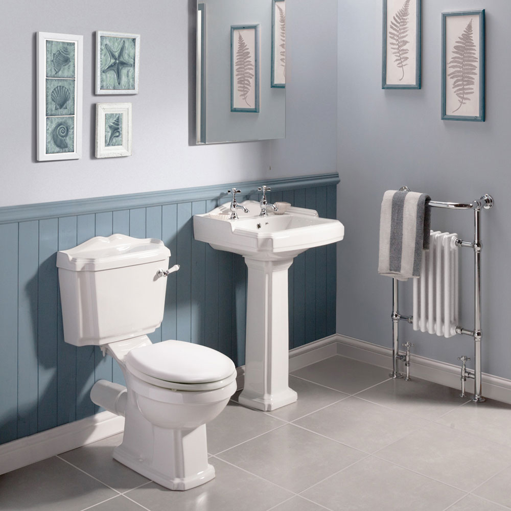 Oxford Ceramic Traditional Basin & Pedestal Set Profile Large Image