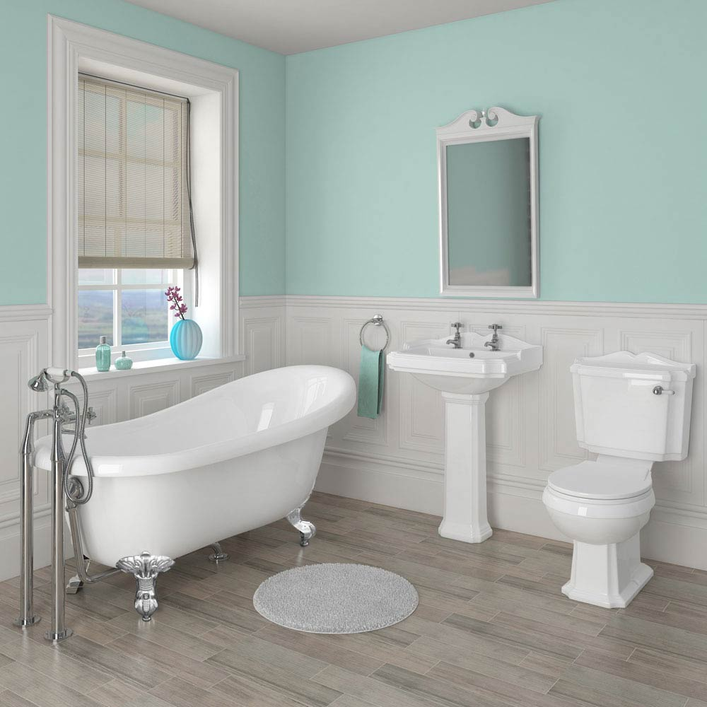 Oxford Traditional Free Standing Roll Top Slipper Bath Suite Large Image