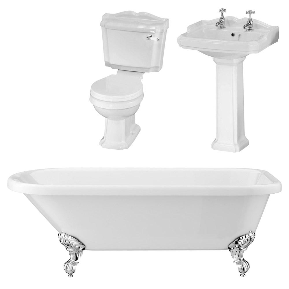 Oxford Traditional Free Standing Single Ended Roll Top Bath Suite In Bathroom Large Image