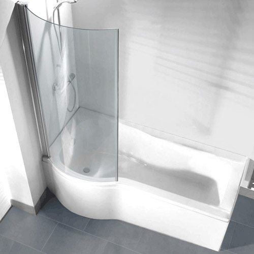 P Shaped Shower Bath Pack With Curved Shower Screen Left
