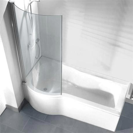 P-shaped Shower Bath Pack with Curved Shower Screen - Left hand option