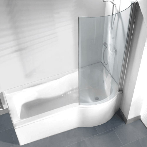 P Shaped Shower Bath Pack With Curved Shower Screen