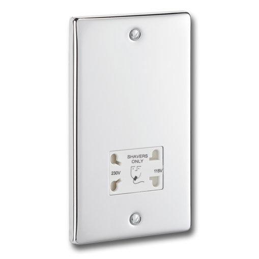 Polished Chrome Dual Voltage Shaver Socket with White Insert - P17C Large Image