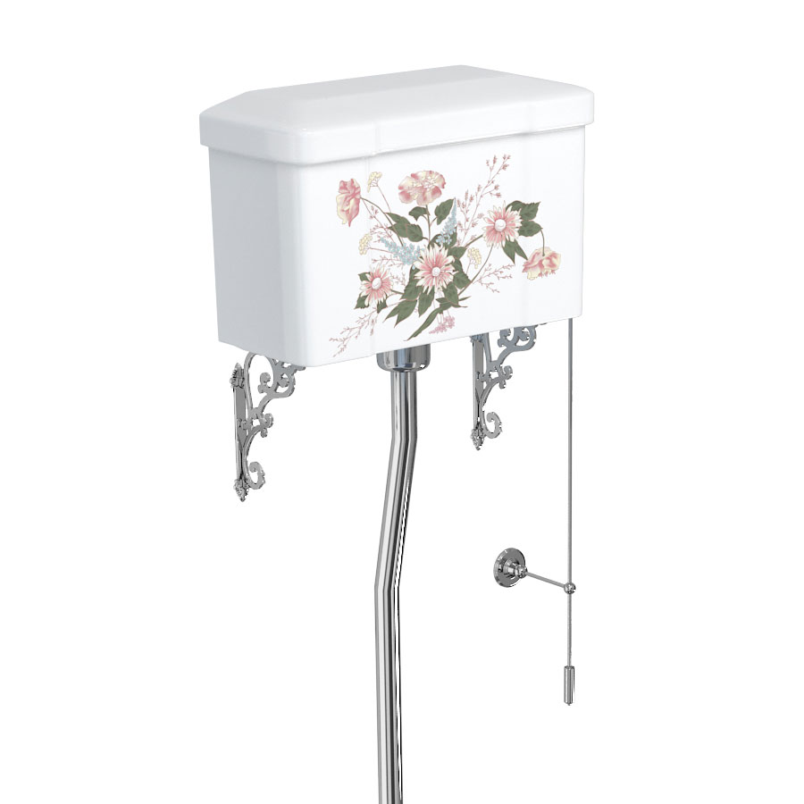 Burlington English Garden High Level Toilet and Cistern with Pull Rod Flush profile large image view 2