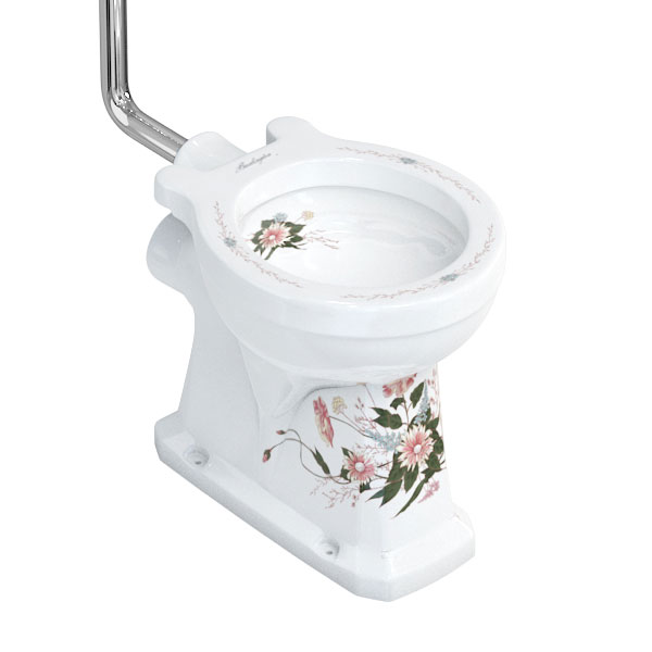 Burlington English Garden High Level Toilet and Cistern with Pull Rod Flush Feature Large Image
