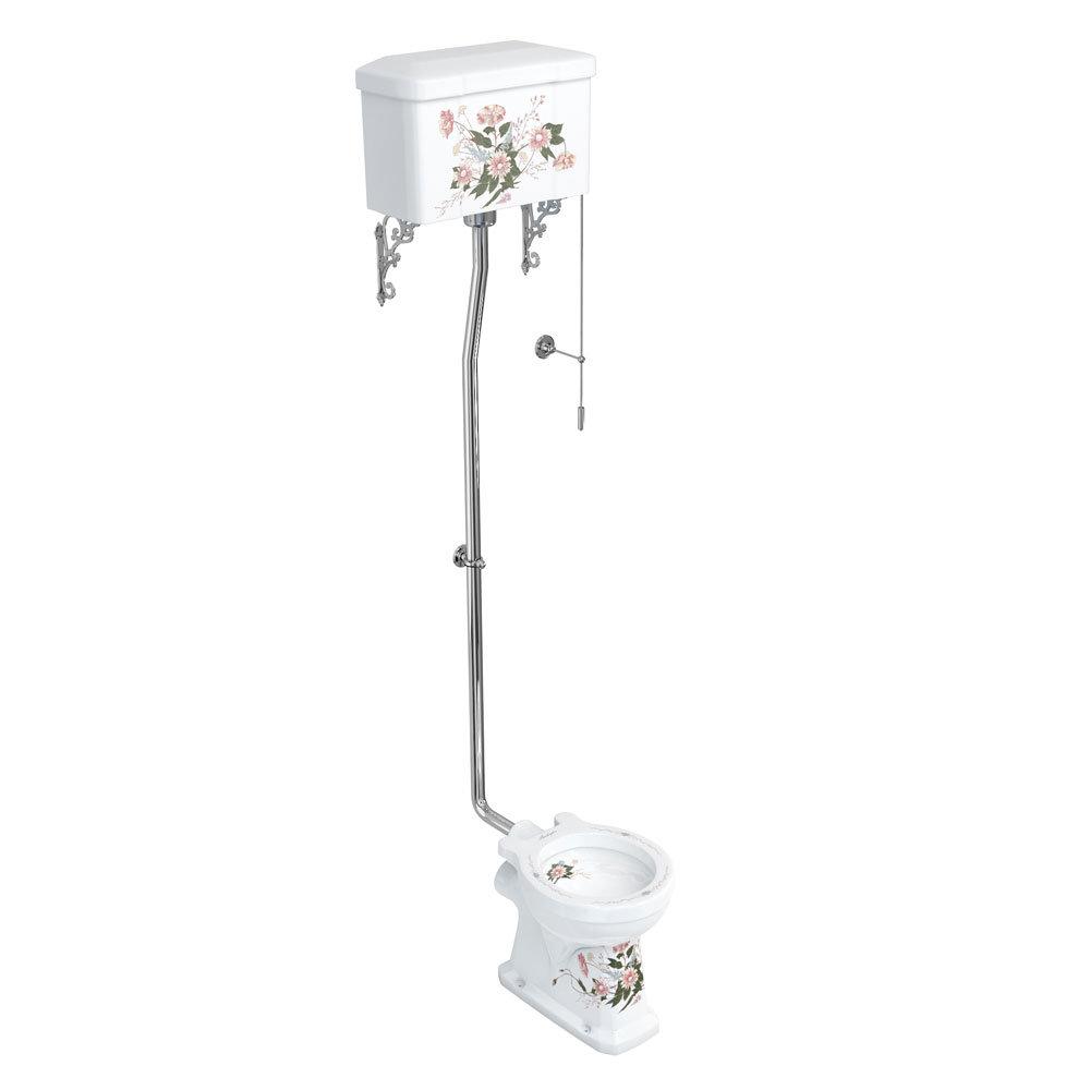 Burlington English Garden High Level Toilet and Cistern with Pull Rod Flush Large Image