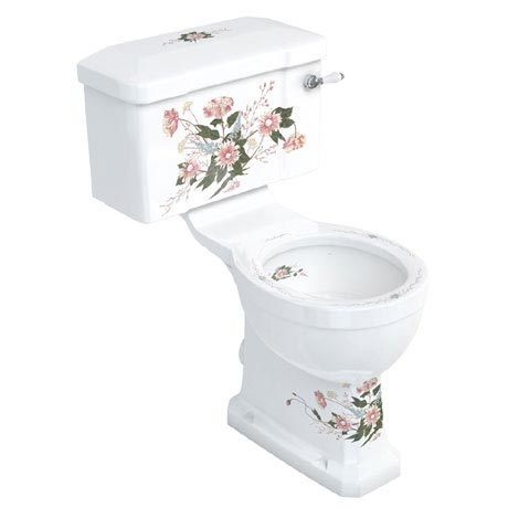 Burlington English Garden Close Coupled Toilet - Ceramic Lever Flush