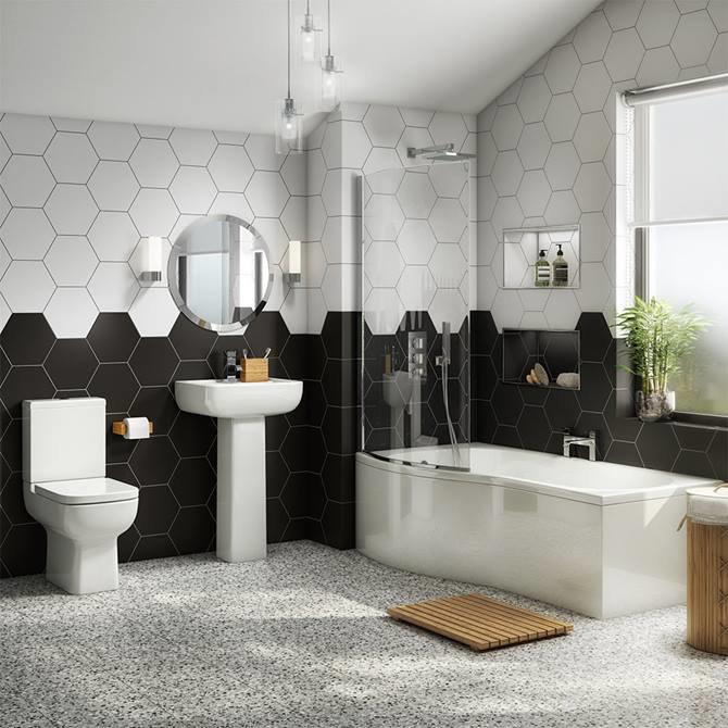 Pro 600 Modern Shower Bath Suite - Left Hand