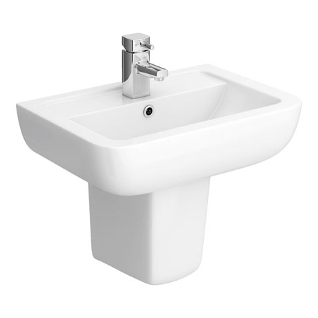 Pro 600 Basin + Semi Pedestal (560mm Wide - 1 Tap Hole)