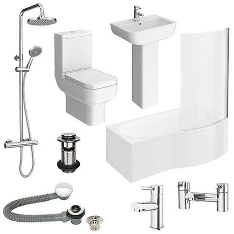 Pro 600 B-Shaped 1700 Complete Bathroom Package