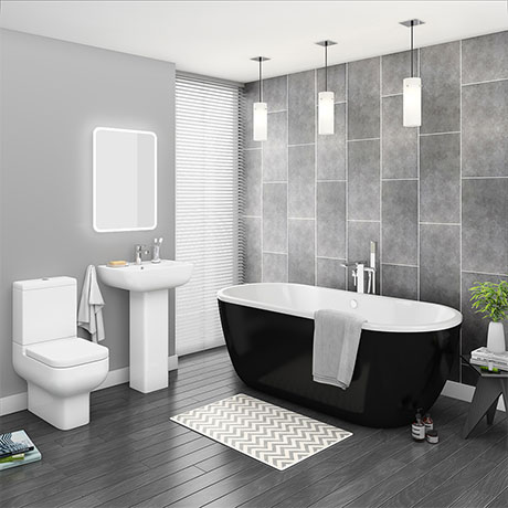 Pro 600 Black Modern Free Standing Bath Suite