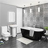 Pro 600 Black Modern Free Standing Bath Suite profile small image view 1