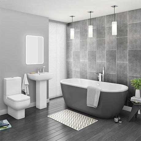 Pro 600 Grey Modern Free Standing Bath Suite