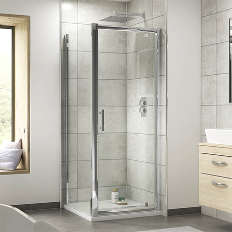 Nuie Pacific 900 x 900mm Pivot Door Shower Enclosure + Pearlstone Tray