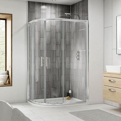 Pacific LH Offset Quadrant Shower Enclosure Inc. Tray + Waste
