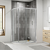 Pacific LH Offset Quadrant Shower Enclosure inc. Tray profile small image view 1