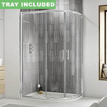 Pacific RH Offset Quadrant Shower Enclosure Inc. Tray + Waste Medium Image