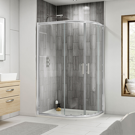 Pacific RH Offset Quadrant Shower Enclosure Inc. Tray + Waste