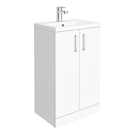 Pallas 500 Modern Gloss White Floor Standing Vanity Unit