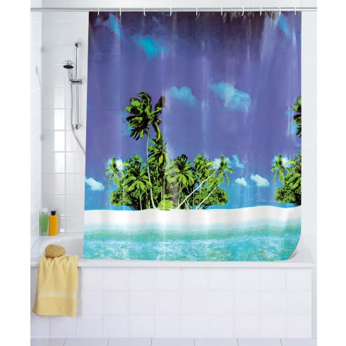Wenko Palm Beach PEVA Shower Curtain - W1800 x H2000mm - 19101100 Large Image