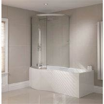 Sommer P-Shaped Shower Bath 1700mm (Inc. Sliding Screen + Acrylic Front Panel) Medium Image