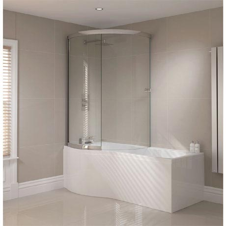 Sommer P-Shaped Shower Bath 1700mm (Inc. Sliding Screen + Acrylic Front Panel)