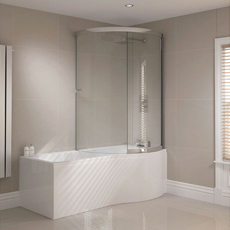Sommer RH P-Shaped Shower Bath 1700mm (inc. Sliding Screen and Acrylic Front Panel)