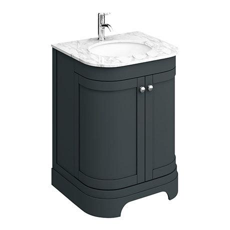 Period Bathroom Co 600mm Curved Vanity, Dark Grey Bathroom Vanity Unit