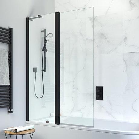 Crosswater Design+ Matt Black Double Panel Bath Screen
