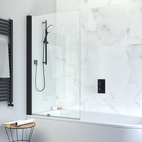 Crosswater Design+ Matt Black Single Bath Screen