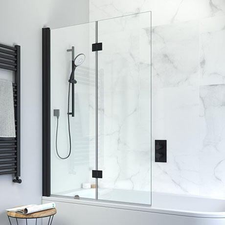 Crosswater Design+ Matt Black Double Folding Bath Screen