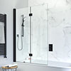 Crosswater Design+ Matt Black Double Folding Bath Screen profile small image view 1