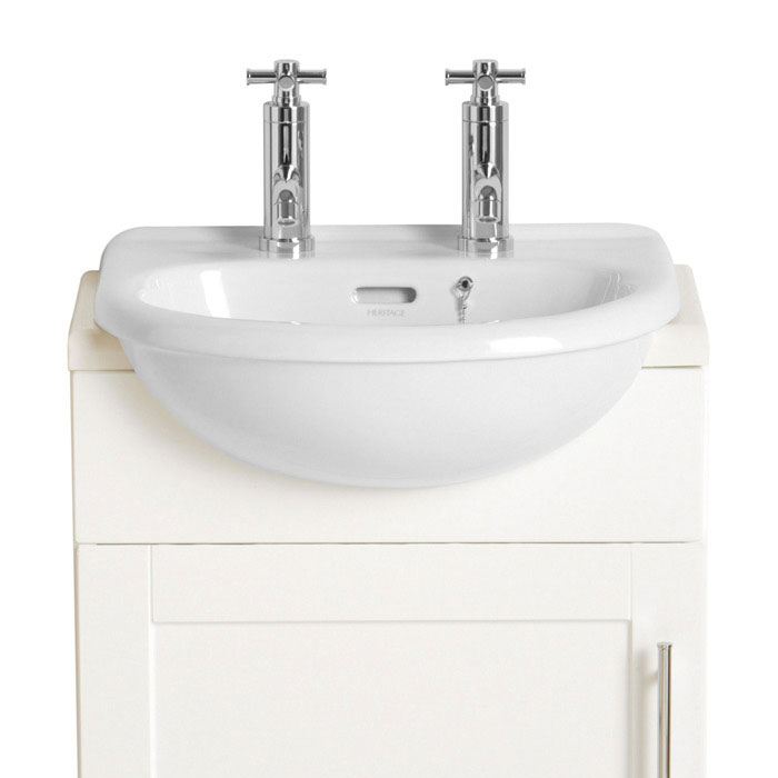 Heritage - Belmonte Cloakroom Semi-Recessed Basin - 1 or 2 Tap Hole Options Large Image