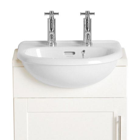 Heritage - Belmonte Cloakroom Semi-Recessed Basin - 1 or 2 Tap Hole Options