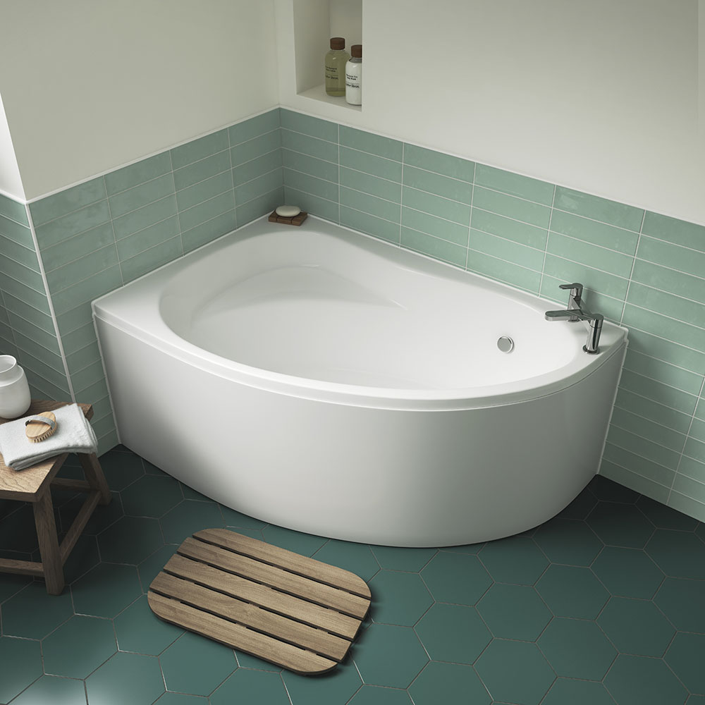 Nuie Pilot Offset Corner Bath with Panel - Left Hand - PCB001