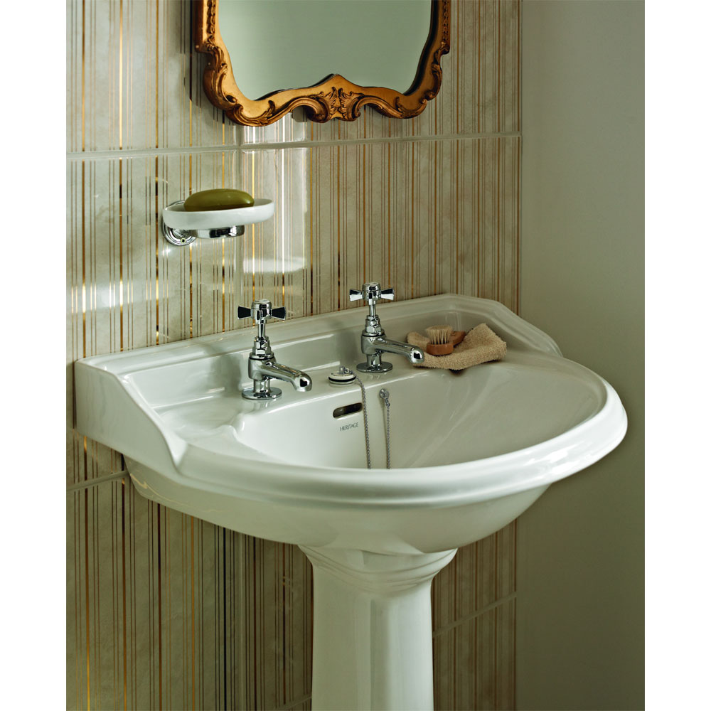 Heritage - Dorchester Medium Basin & Pedestal - Various Tap Hole Options Profile Large Image