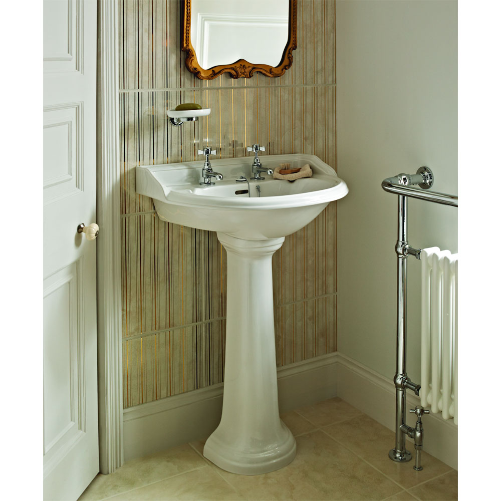 Heritage - Dorchester Standard Basin & Pedestal - Various Tap Hole Options profile large image view 3