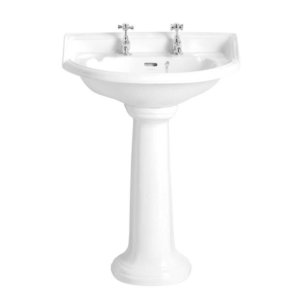 Heritage - Dorchester Standard Basin & Pedestal - Various Tap Hole Options Large Image