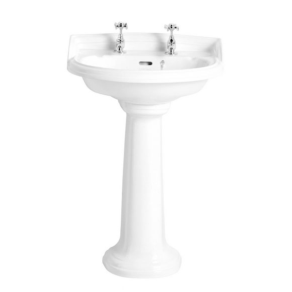Heritage - Dorchester Medium Basin & Pedestal - Various Tap Hole Options Large Image