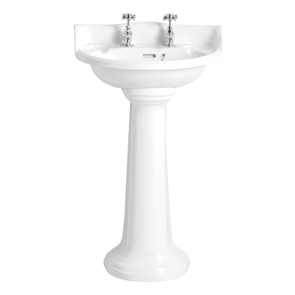 Heritage - Dorchester Cloakroom Basin & Pedestal - 1 or 2 Tap Hole Options Large Image
