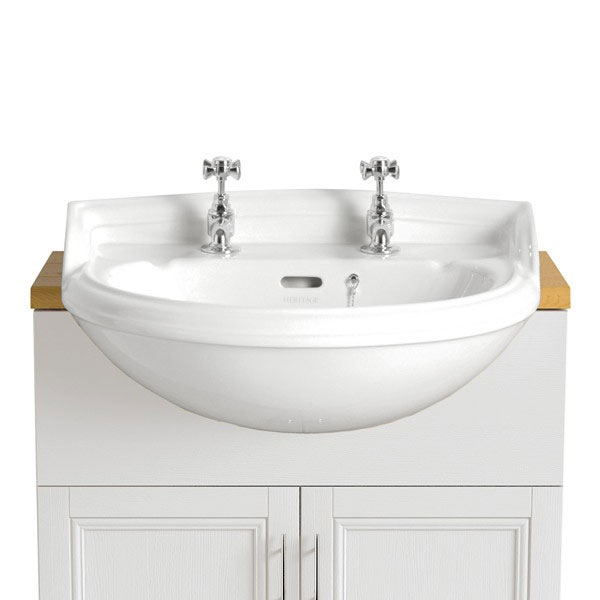 Heritage - Dorchester Medium Semi-Recessed Basin - Various Tap Hole Options profile large image view 1
