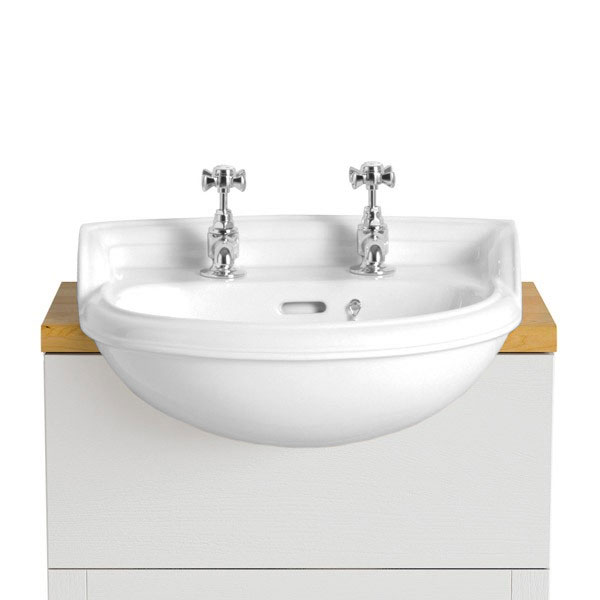 Heritage - Dorchester Cloakroom Semi-Recessed Basin - 1 or 2 Tap Hole Options Large Image