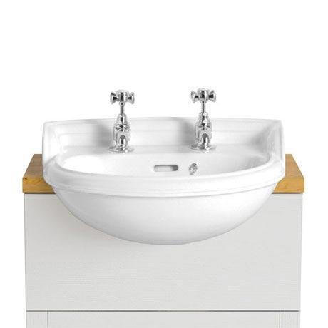 Heritage - Dorchester Cloakroom Semi-Recessed Basin - 1 or 2 Tap Hole Options