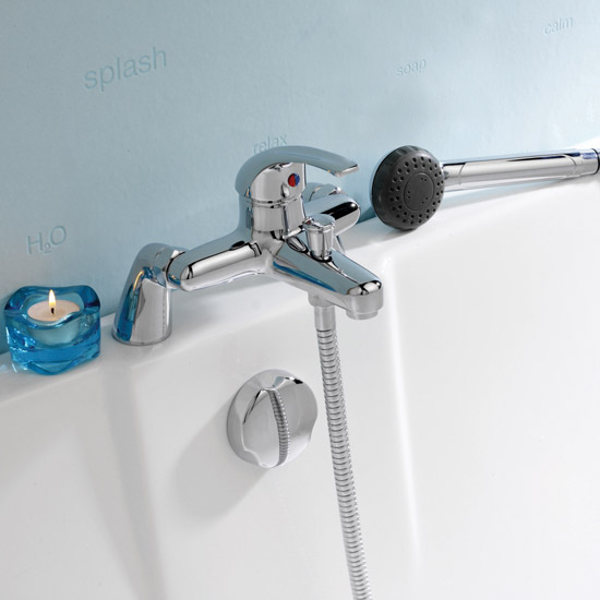 Ultra Eon Single Lever Bath Shower Mixer inc Shower Kit - Chrome - PF304 Profile Large Image