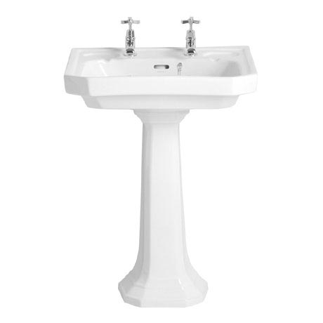 Heritage - Granley Deco 2TH Basin & Tall Pedestal