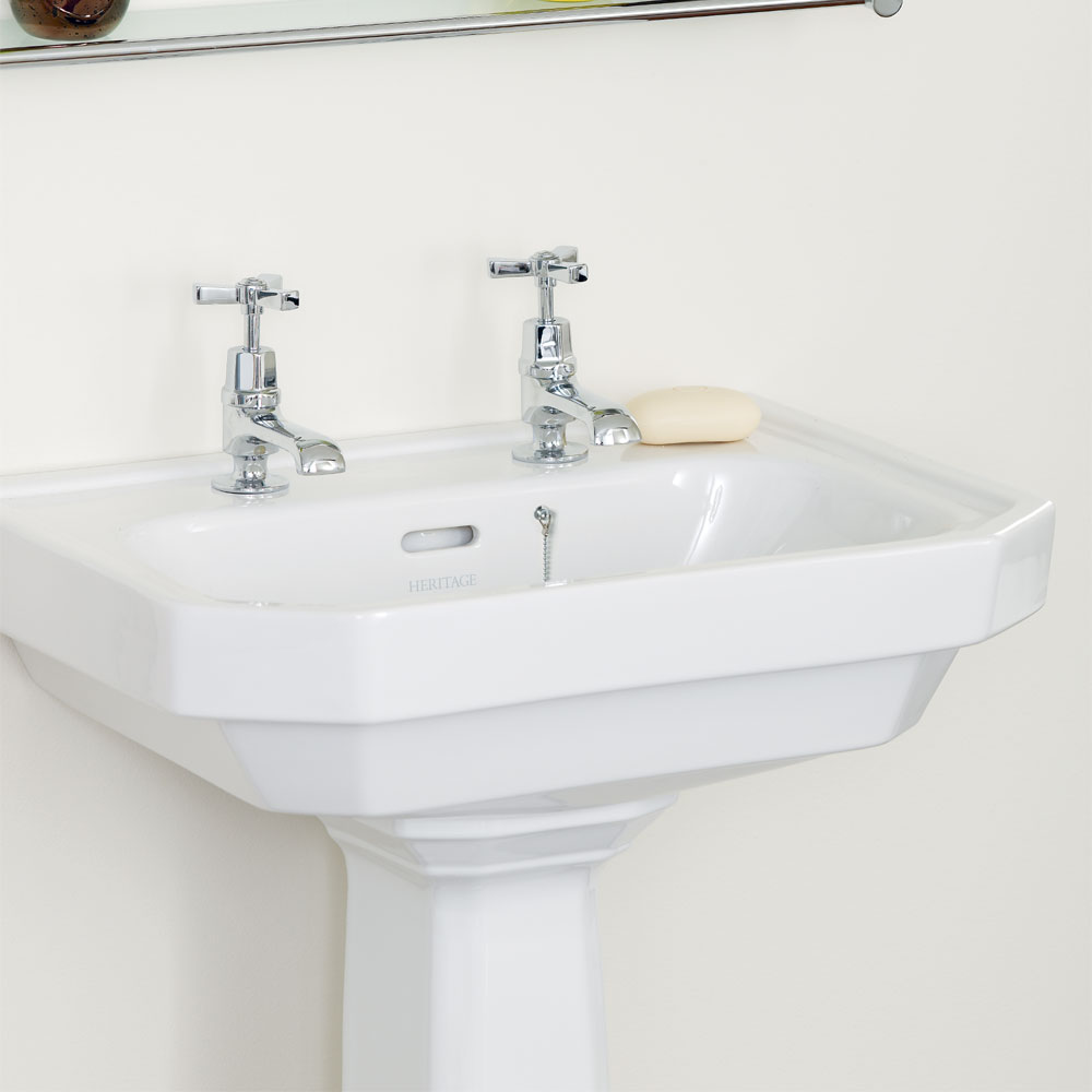 Heritage - Granley Deco 55cm 2TH Basin & Tall Pedestal Profile Large Image