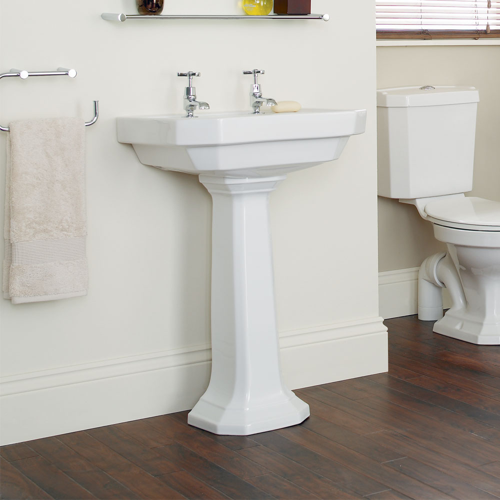 Heritage - Granley Deco 55cm 2TH Basin & Tall Pedestal Feature Large Image